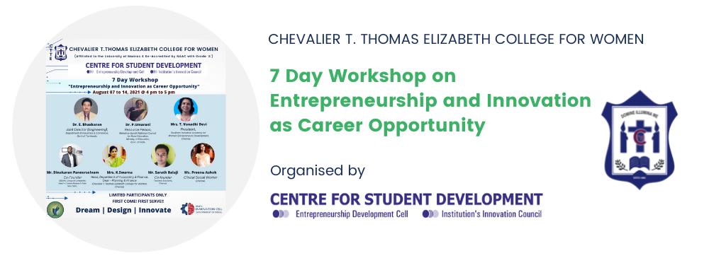 """Workshop on """"Entrepreneurship and Innovation as Career Opportunity"""""""