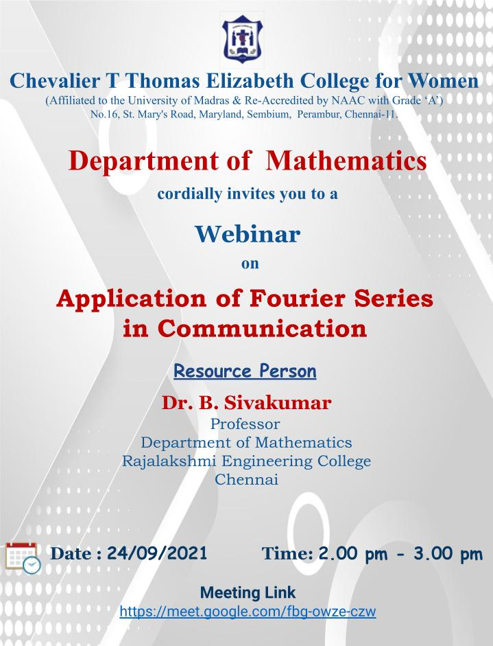 Department of Mathematics, CTTE Arts and Science College for Women